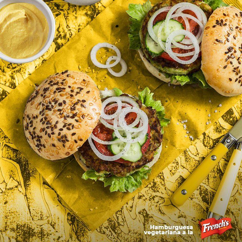 Hamburguesa vegetariana a la French's
